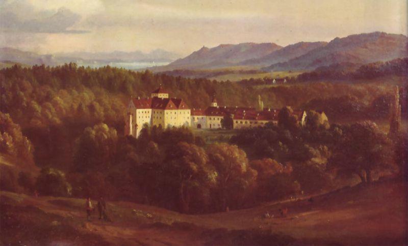 Schloss Langenstein: Im Hintergrund links die Ruine Nellenburg bei Stockach, in der Mitte der Überlinger See, rechts die Ruine Alt-Bodman. Ölgemälde von Josef Moosbrugger (um 1850).